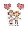 color pencil drawing of caricature of boy and girl vector image vector image
