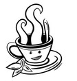 cute cartoon cup tea or coffee line sketch vector image