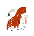cute hand drawn dinosaur cartoon bat rex in vector image vector image