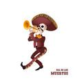 dia de muertos mariachi musician skeleton trumpet vector image vector image