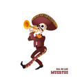 dia de muertos mariachi musician skeleton trumpet vector image