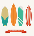 different surfboard set flat design various surf vector image vector image