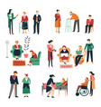 elderly people isolated icons old and disabled men vector image vector image