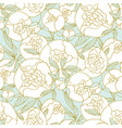elegant white round peony flower seamless pattern vector image