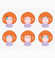 emojis kawaii cartoon faces funny young boy vector image