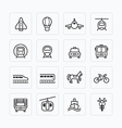 flat icons set transportation outline concept vector image