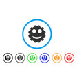 gear smile smiley rounded icon vector image