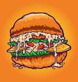hamburger fastfood cartoon style vector image