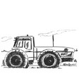 hand drawn tractor isolated on white vector image