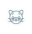 happy cat emoji line icon concept happy cat emoji vector image vector image