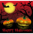 happy halloween carved pumpkins and scary night vector image vector image