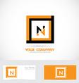 Letter N orange black square logo vector image vector image