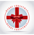 merry christmas card red ribbon bow badg vector image