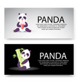 panda characters set banners vector image vector image