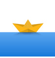 paper boat yellow color on a blue sea vector image vector image