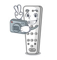 photographer cartoon remote control from tv device vector image
