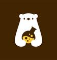 polar bear lab laboratory negative space logo icon vector image vector image