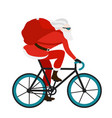 santa bicycle delivery messenger red with gifts vector image vector image