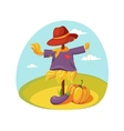 Scarecrow In Clothes Standing On A Field With vector image