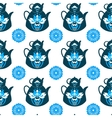 Seamless pattern of pots and flowers vector image