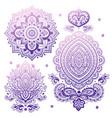set indian floral ornaments mandala henna vector image
