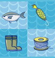 set of fishing cartoons vector image