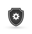 shield with gear icon filled flat sign for mobile vector image vector image