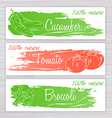 vegetables banners with brushed stripe on wooden vector image vector image