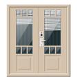 wooden cottage door with windows and window blind vector image