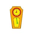 Yellow grandfather clock icon cartoon style vector image