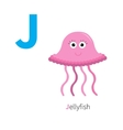 Letter J Jellyfish Zoo alphabet English abc with vector image