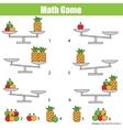 Mathematics educational game for children balance vector image