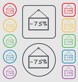 75 discount icon sign symbol on the Round and vector image