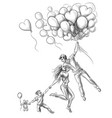 a happy family travels in a heart-shaped balloon vector image