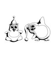a pair cute penguins in black and white style vector image vector image