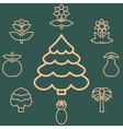 Abstract icons outline of the subjects trees vector image vector image