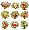 art drawn trees with ripe apples harvest season vector image
