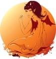 Beautiful girl demon with a flower in the hands vector image vector image