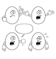 Black and white crying egg set vector image vector image