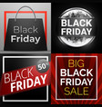 black friday banner set cartoon style vector image