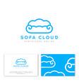 blue linear sofa like fluffy cloud logo vector image