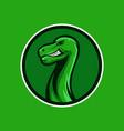 brontosaur mascot logo with circle shield vector image