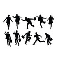 busy businessman activity silhouettes vector image
