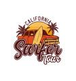 california surfer tour design retro surfing t vector image vector image