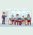 call center office cute hotline managers vector image vector image