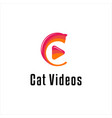 cat and video logo design logo design inspiration vector image