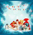 christmas holiday background with presents vector image vector image