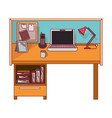 colorful graphic of workplace home office interior vector image vector image