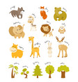 cute animals set forest and african animals vector image vector image