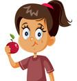 cute girl eating an apple cartoon vector image vector image